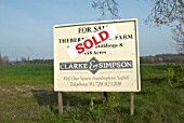 Sold sign for land lot, UK
