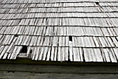 Traditonal cottage wood shingle roof, Slovakia