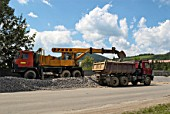 Excavator and dumper truck with aggregate, Slovakia