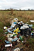 Litter dumped in the countryside, Norfolk, UK