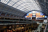 The Barlow shed of the redeveloped St Pancras station, home of Eurostar, London, UK