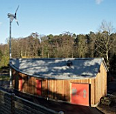 Wind turbine to help power an arts and craft shelter at Christchurch Park, Ipswich, UK