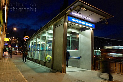 Underground street entrance at Kings Cross StPancras London UK