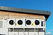 Air conditioning units on the exterior of a building, Ipswich, UK