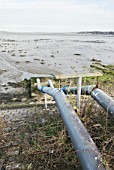 Disused pipes running into the River Stour from a factory no longer in use, Manningtree, Suffolk, UK