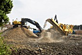 Clearing site using an Aggregate Crusher, Stowmarket, Suffolk, UK
