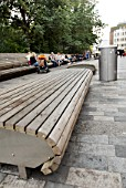 Modern wooden benches, Brighton, Sussex, UK
