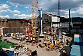 Groundworks begin on the site for the Renzo Piano designed Shard building, London Bridge, UK