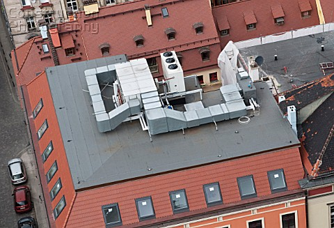 Airconditioning vent system on a roof of an office building Wroclaw Poland