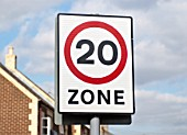20mph speed zone in a residential area, Downham Market, Norfolk, UK