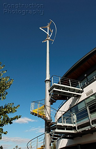 Vertical axis wind turbine VAWT used to power electricity for Wisbech Boathouse part of the Nene Wat