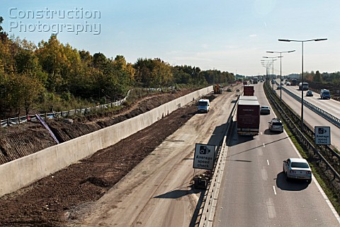 M25 widening scheme near Junction 17 and 18 of the motorway UK