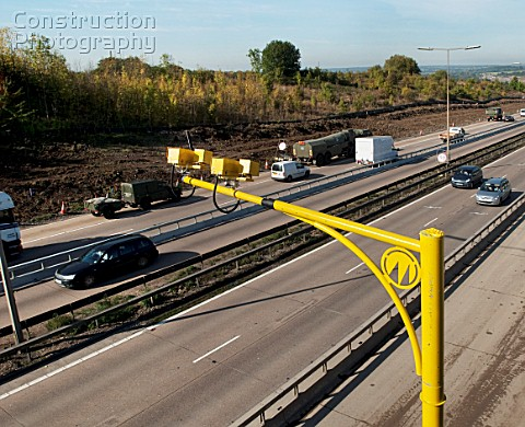 Average speed cameras used on roadworks during the M25 widening scheme near junction 28 of the motor