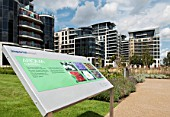 Imperial Wharf housing development and gardens, Chelsea, London, UK.