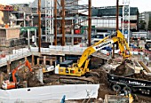 Groundworks on the site of the architect Renzo Piano designed Shard building, London Bridge, UK
