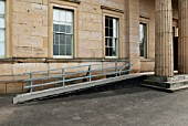 Wheelchair access ramp on a front entrance of a historical building, York, Yorkshire, UK