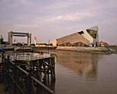 Evening Shot of The Deep, Hull, Sammys Point, River Humber, East Yorkshire, United Kingdom. Designed by Sir Terry Farrell & Partners.