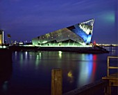 Night Shot of The Deep in Hull, Sammys Point, River Humber, East Yorkshire, United Kingdom. Designed by Sir Terry Farrell & Partners.