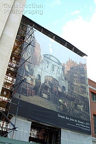 Banner covering restoration work in progress at St Pauls London UK
