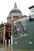 Hoarding surrounding restoration works upon St Pauls, London, UK.