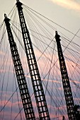 Millennium dome towers silhouetted by a sunset