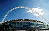 Wembley Stadium was designed by architects HOK Sport and Foster & Partners with Engineers Mott Macdonald and was built by Multiplex.  The signature feature is the circular section lattice arch which is 133 metres tall and sits above the northern half of the stadium.