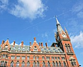 Exterior of the building of St Pancras train station, London, UK
