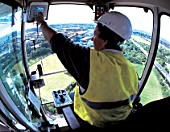Inside the cabine of a crane driver.