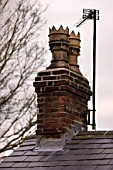 Lead flashing around chimney on slate roof