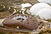 The £15 million education centre The Core is the new addition of the Eden Project, St Austell, Cornwall, England, UK. The design is based on the fundamental rule of how plants grow, incorporating a central trunk and canopy roof that shades the ground and harvests the sun.