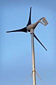 Wind turbine for self sufficient home, Penny Farm, Dorset, UK