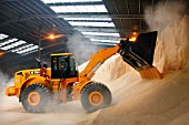 Excavator moving fertilizer in a warehouse on the dockside at a port in Newport, South Wales, UK