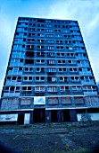 Derelict high-rise council tower block damaged by fire, Manchester