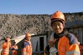 There are over 1.500 contract workers employed in the construction of the Karahnjukar dam in Iceland. The workers are mainly from China which makes the largest group, followed by Portugal, Italy, Pakistan. The work is done throughout the day in shifts rotations.  These workers just finished their night one.