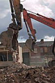 Council Estate being demolished, Salford, Greater Manchester.