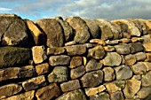Dry stone wall newly repaired in Peak District National Park Derbyshire