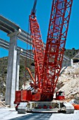 Crawler crane used on the construction of a new motorway viaduct in the Andalusia region of southern Spain