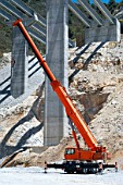 Mobile crane used on the construction of a new motorway viaduct in the Andalusia region of southern Spain