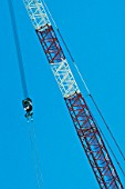 Jib section lift attachment on a crawler crane