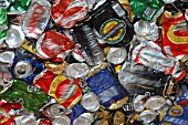 Close up of cans ready to be recycled