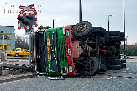 Lorry involved in a road accident at railway crossing