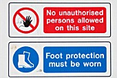 Site safety regulation sign.