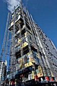 Steel modular structure during the erection of the Central Justice Court, Manchester, England, UK