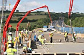 A38 River Tamar Bridge, Saltash, Devon, UK. Concrete pour
