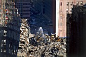 Ground Zero. The demolition of the rests of the Twin Towers and wreckage after the terrorist attack on the World Trade Center.