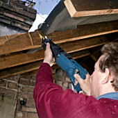 Loft conversion. Installing a new roof window