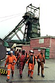 Miners at the end of their shift, Tower Colliery, Hirwaun, South Wales