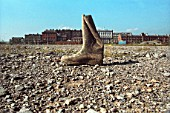 Wellington Boot on the site where the Wales Millennium Centre has been built, Cardiff Bay, South Wales