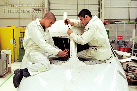 British Airways aircraft maintenance trainees working on a Hawker Siddley 125 jet Barry College Vale