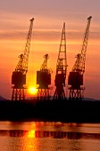 Cranes at Sunset, Newport Docks, South East Wales.